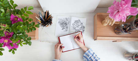 Top view girl artist draws a sketch of rose hip flowers sitting at her workplace