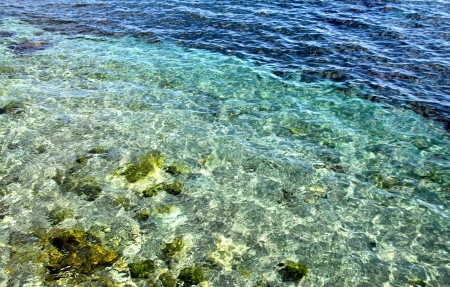 Beautiful sea water on the shore of the Black Sea