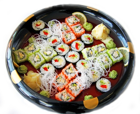 Photo of a rolled and sushi photo