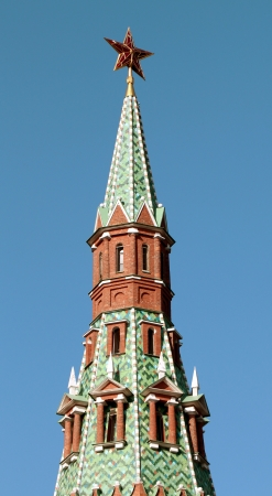The top of the tower with the star of the Moscow Kremlin photo