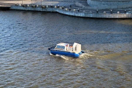 hovercraft: Hovercraft in the Moscow River Stock Photo