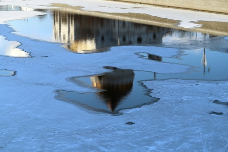 Ice floating on the river in winter Moscow in Russia