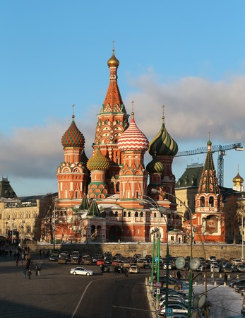 Dome of St. Basils Cathedral on Red Square in Moscow, close-up photo