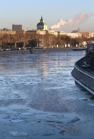 View of the ice-covered river Moscow and Moscow Kremlin photo