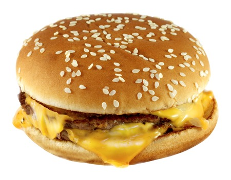 double cheeseburger is photographed close-up on white background