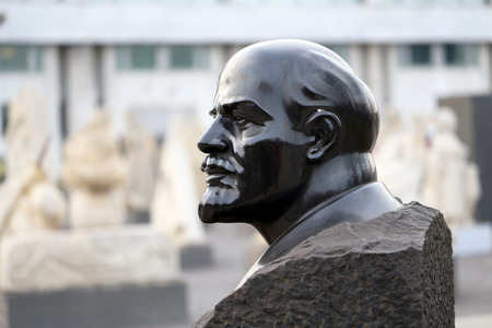 vladimir: bust of Vladimir Lenin in the park is photographed close-up Stock Photo