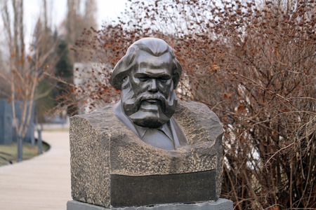 marx: bust of Karl Marx in the park is photographed close-up Stock Photo