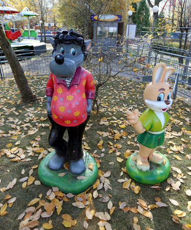 Statues of the wolf and the hare photographed close up photo