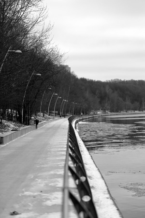 moskva river: Embankment of the Moscow river in the park Fili Stock Photo