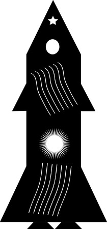 Graphic drawing black rocket on a white background Vector