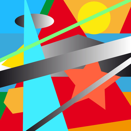 illustrated: Colorful illustrated abstraction. Vector illustration.