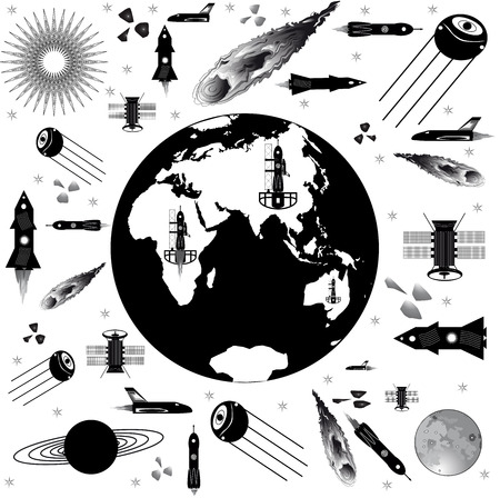 spacecraft: The flight spacecraft in Earth orbit a black and white picture