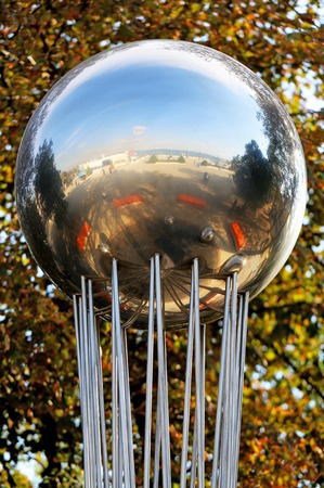 gush: Beautiful ball fountain is photographed close up Stock Photo