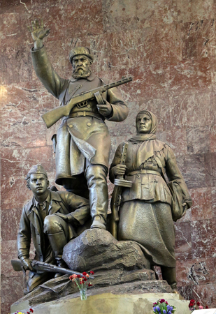 partisan: Monument to Russian partisans in the war photographed close up