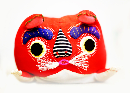 the hangover: Japanese soft toy cats photographed close up