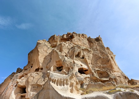 goreme: Beautiful fortress in the mountain in Turkey in the city of Uchisar Stock Photo