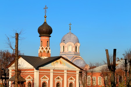 Golden domes and crosses Russian Orthodox Church