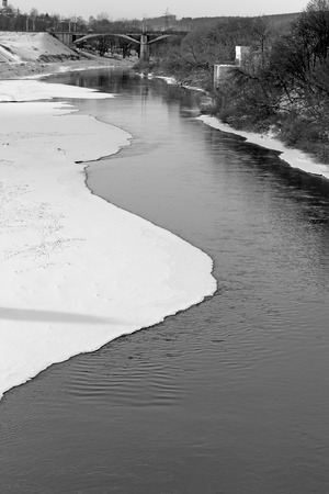 dnepr: The Dnieper river in Smolensk black and white photography