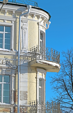 disrepair: Old house in the city of Smolensk in Russia