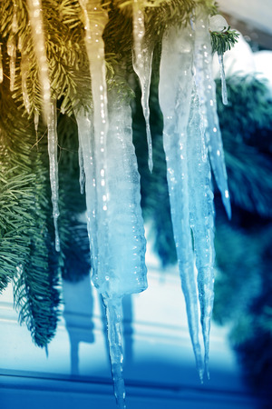 Beautiful icicles from the ice are photographed close up Stock Photo