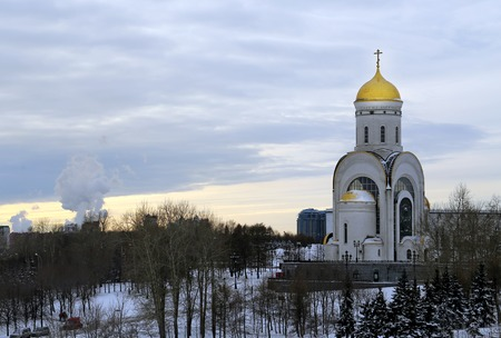 christmas morning: The old Orthodox Church in the city of Smolensk in Russia Stock Photo