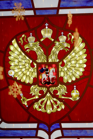 double headed: Beautiful Russian coat of arms photographed close up