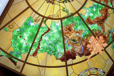 russian ethnicity: Beautiful multi-colored map of Russia is photographed close up