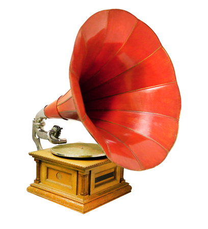 Vintage musical gramophone photographed closeup on a white background