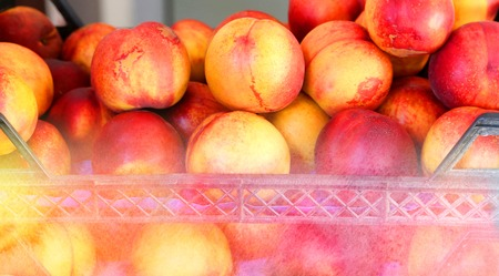 Delicious fresh peaches are in the box photographed close up Stock Photo