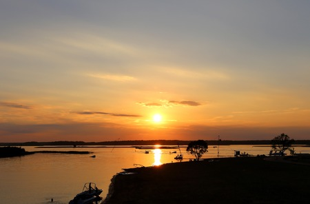sublime: Photo beautiful scenic sunset on the river in the evening
