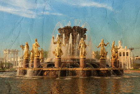 Fountain friendship of peoples in Moscow at the exhibition of national achievements photographed in close-up