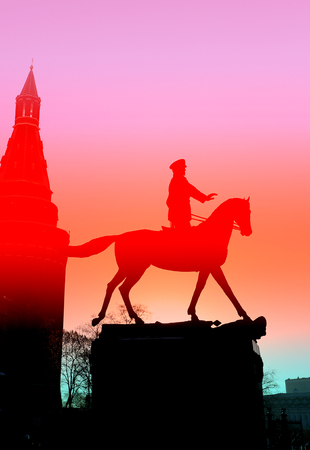 marshal: beautiful monument in Moscow on red square, Marshal Georgy Zhukov to photograph closeup