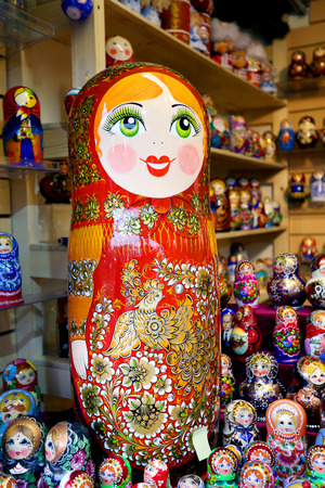 Beautiful Russian toys dolls photographed in close up Stock Photo