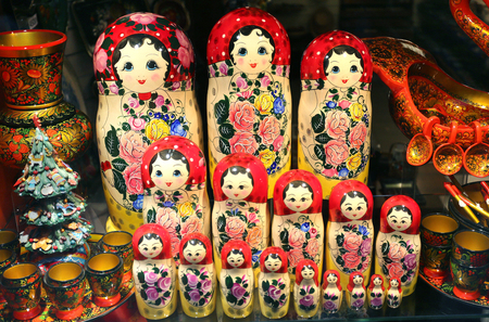 traditional pattern: Beautiful Russian toys dolls photographed in close-up Stock Photo