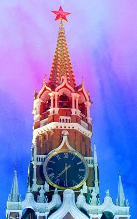Beautiful Spasskaya Kremlin tower with a star on the abstract colored background
