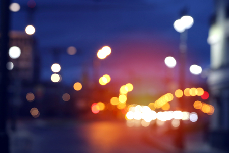 Night Moscow. Abstract blurred beautiful picture photographed in close-up