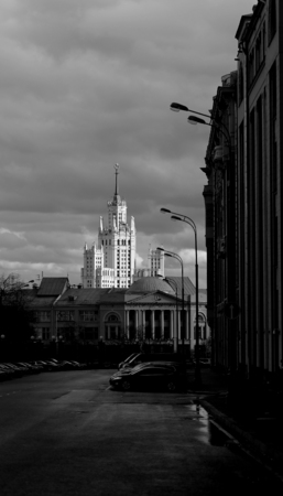 Residential building on Kotelnicheskaya Stalinist skyscraper in Moscow, is at the mouth of the Yauza river black and white close-up photos