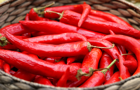 Beautiful delicious hot red pepper close up Stock Photo