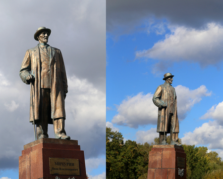 The monument of Ivan Michurin photographed in close-up