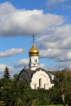 Beautiful Orthodox Church with Golden domes photographed in close-up