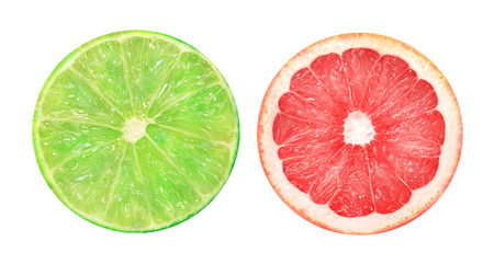 Photo of a beautiful slice of grapefruit and lime in a cut on a white background Stock Photo