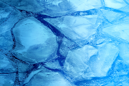 Beautiful large ice floes on the river photographed in close-up Stock Photo