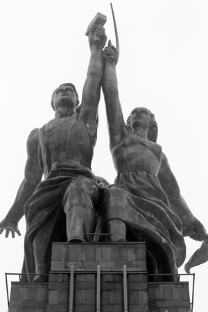 Worker and collective farm girl monument of black and white photos in city Moscow