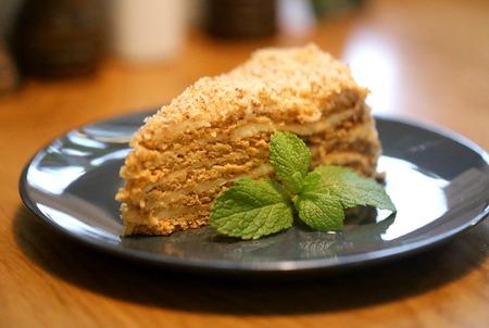 Beautiful photos of delicious honey cake closeup Stock Photo