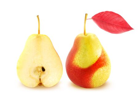 Isolated delicious pear photographed close-up on white background