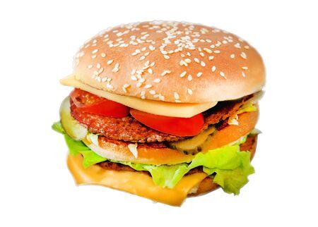Foto di un delizioso hamburger fresco con carne su uno sfondo scuro Archivio Fotografico