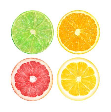 Geïsoleerde citrusvrucht. Schijfjes sinaasappel, roze grapefruit, limoen en citroen fruit geïsoleerd op een witte achtergrond om close-up te fotograferen Stockfoto