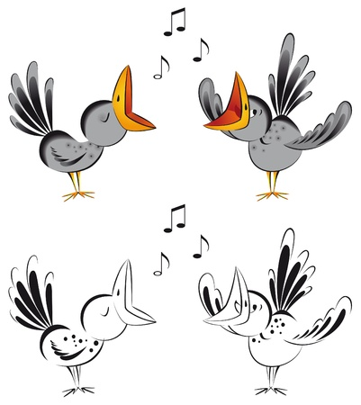 Funny  crows singing a song. Vector illustration. Çizim