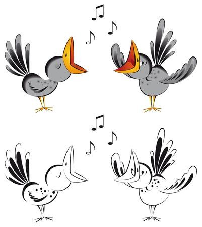 Grappig kraaien zingen van een lied. Vector illustratie.