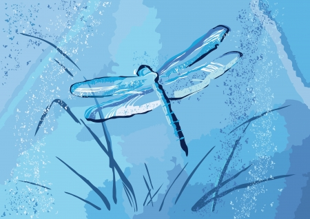 Grunge dragonfly on a  blue background. Stock Vector - 14602303